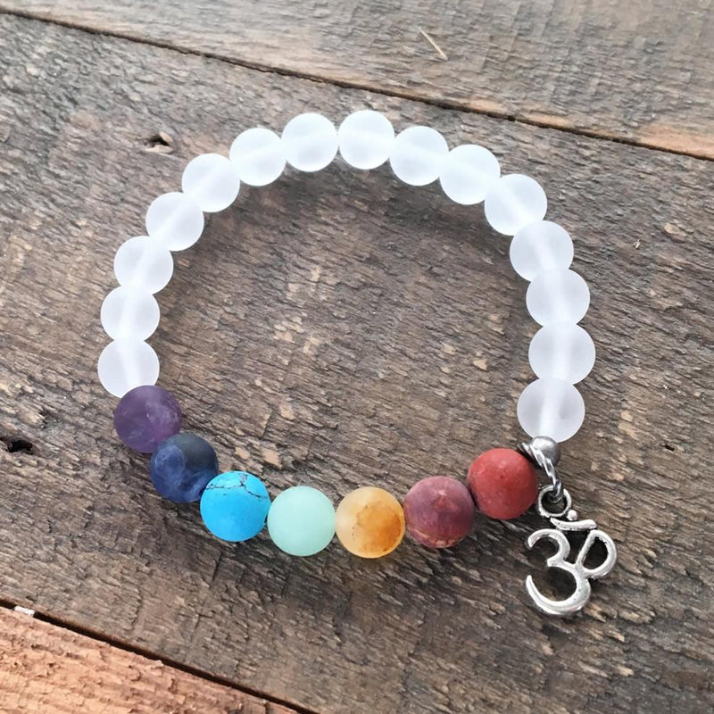 Bracelets - Matte Gemstone Chakra Bracelet With Crystal Quartz And Om Charm