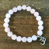 Bracelets - Matte Rose Quartz 'Love' Bracelet With Om Charm
