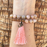 Bracelets - Matte Sunstone And Sandalwood, 'Joy And Healing', 27 Bead Wrist Mala Wrap Bracelet