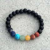 Bracelets - Men's Chakra Bracelet, Matte Gemstones And Ebony Bracelet