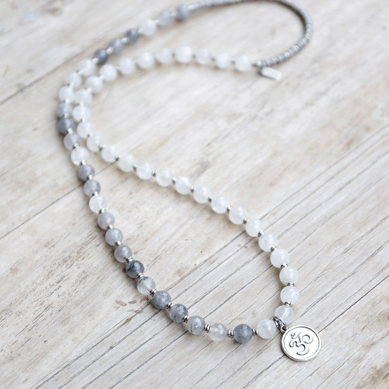 Bracelets - Moonstone And Quartz Crystal Mala Necklace