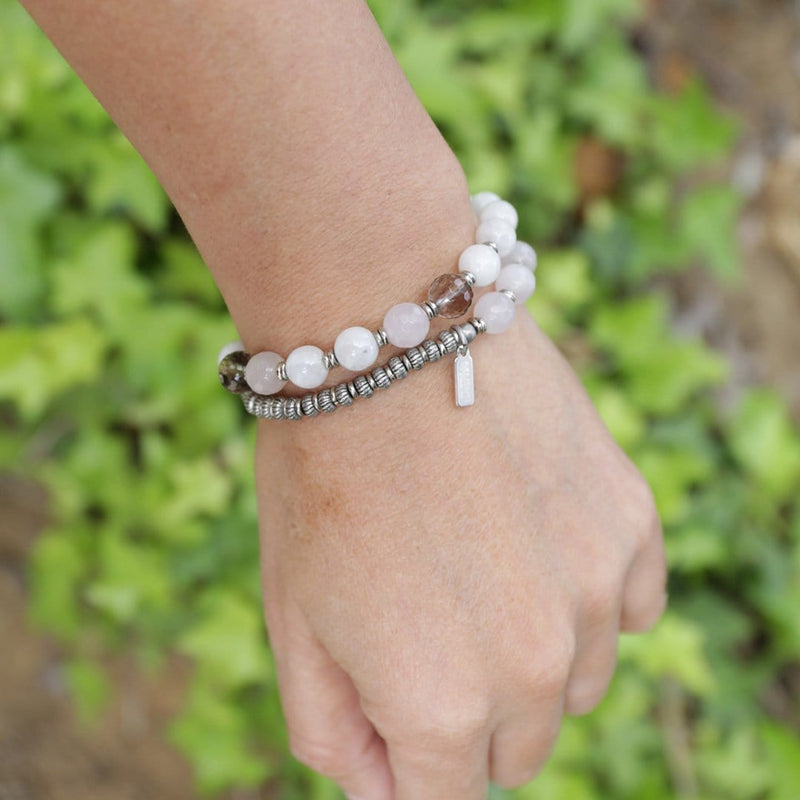 Bracelets - Moonstone, Rose Quartz, Smoky Quartz 27 Bead Wrist Mala Bracelet In Silver