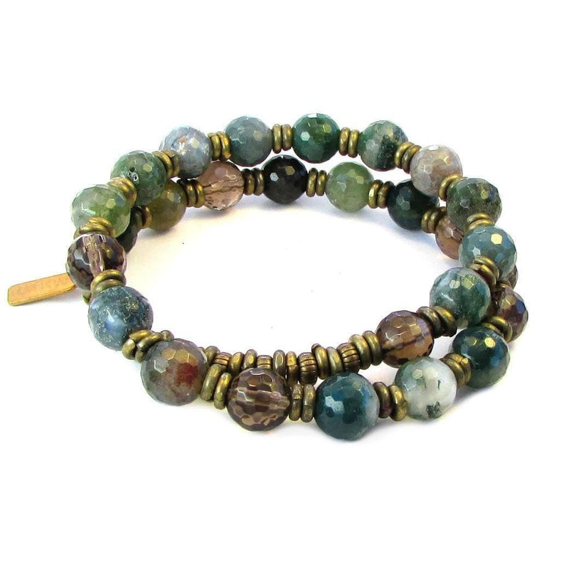 Bracelets - Moss Agate And Smoky Quartz 27 Bead Mala Bracelet