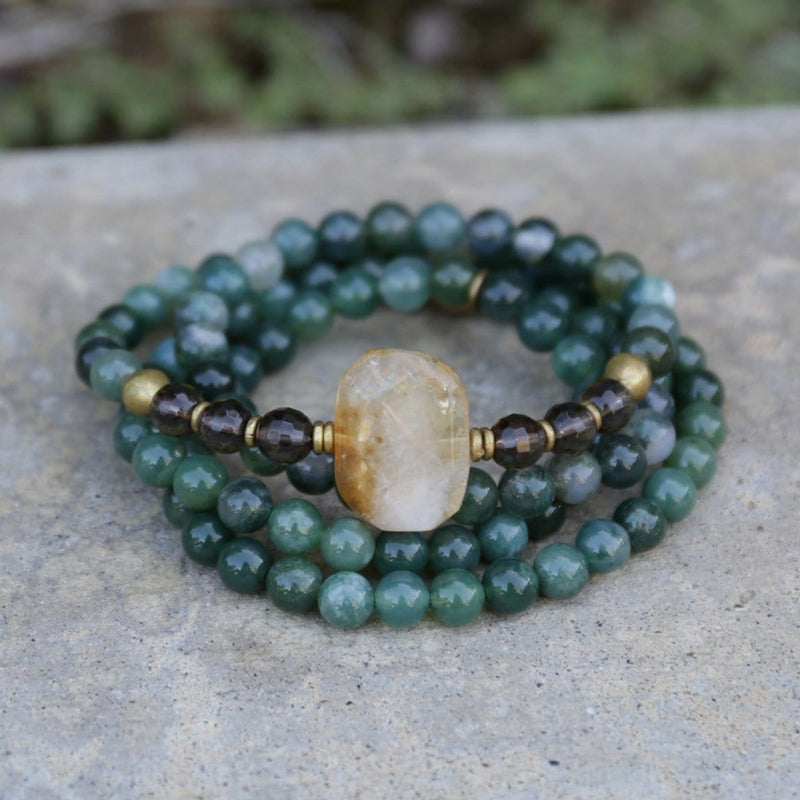 Bracelets - Moss Agate And Smoky Quartz Mala Bracelet