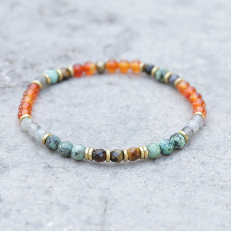 "Bracelets - ""Motivation And Serendipity"" Carnelian And African Turquoise Bracelet"