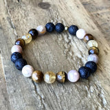 Bracelets - Motivation' Solar Plexus Chakra Aromatherapy Lava Rock And Gemstones Diffuser Bracelet