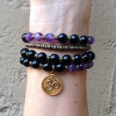 Bracelets - Patience And Healing, Onyx And Amethyst 54 Bead Convertible Wrap Mala Bracelet Or Necklace