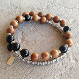 Bracelets - Patience, Onyx And Wood 27 Bead Unisex Wrap Mala Bracelet
