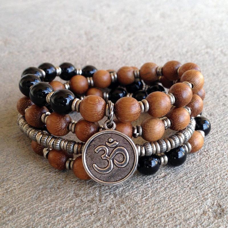Bracelets - Patience, Onyx And Wood 54 Bead Wrap Mala Bracelet