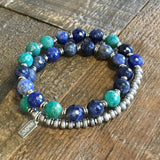Bracelets - Peace And Communication, Sodalite And Amazonite 27 Bead Mala