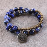 Bracelets - Peace, Sodalite 27 Bead Wrap Bracelet With A Tree Of Life Charm