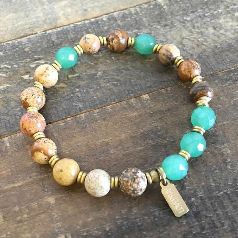 "Bracelets - Picture Jasper And Aventurine ""Balance And Protection"" Bracelet"