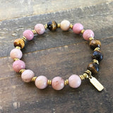 "Bracelets - Pink Rhodochrosite And Tiger´s Eye ""Self Love And Prosperity"" Bracelet"