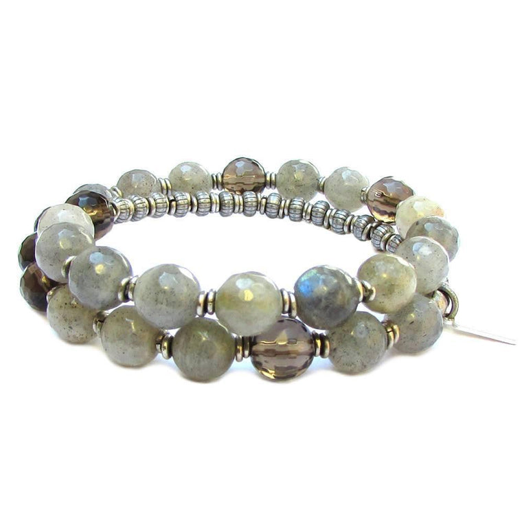 Bracelets - Positivity and Serendipity, Genuine Labradorite and Smoky Quartz 27 Bead Wrap Mala Bracelet