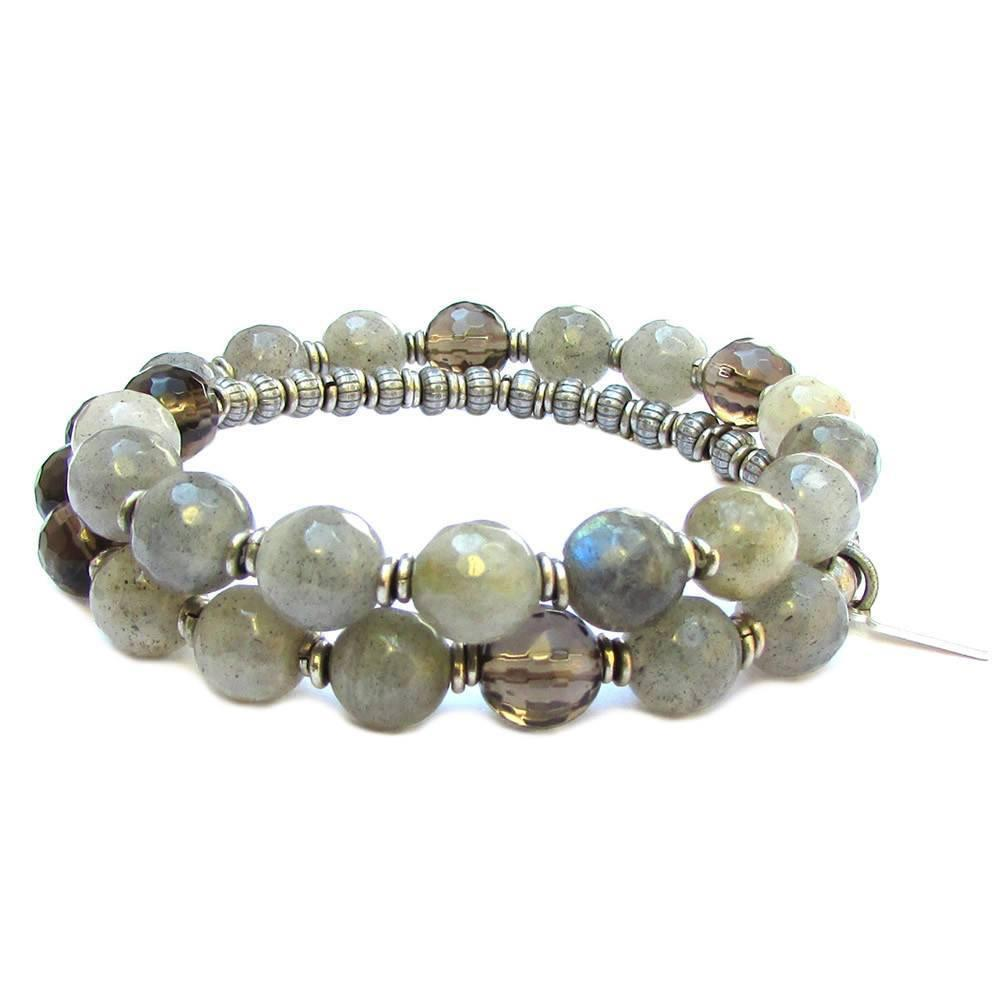 Bracelets - Positivity And Serendipity, Genuine Labradorite And Smoky Quartz 27 Bead Wrap Mala Bracelet™