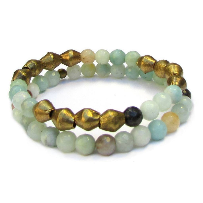 Bracelets - Positivity, Genuine Amazonite Gemstone Mala Bracelet Stack With African Trade Beads