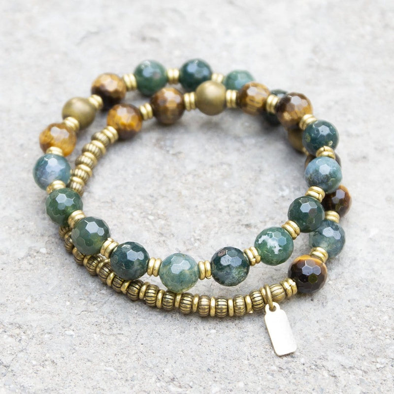 Moss Agate And Tiger's Eye Mala Bracelet