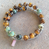 Bracelets - Prosperity And Change, Tiger's Eye And African Turquoise 27 Bead Unisex Wrap Mala Bracelet