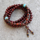 Bracelets - Prosperity And Compassion, Rosewood And Amazonite 108 Bead Mala Necklace