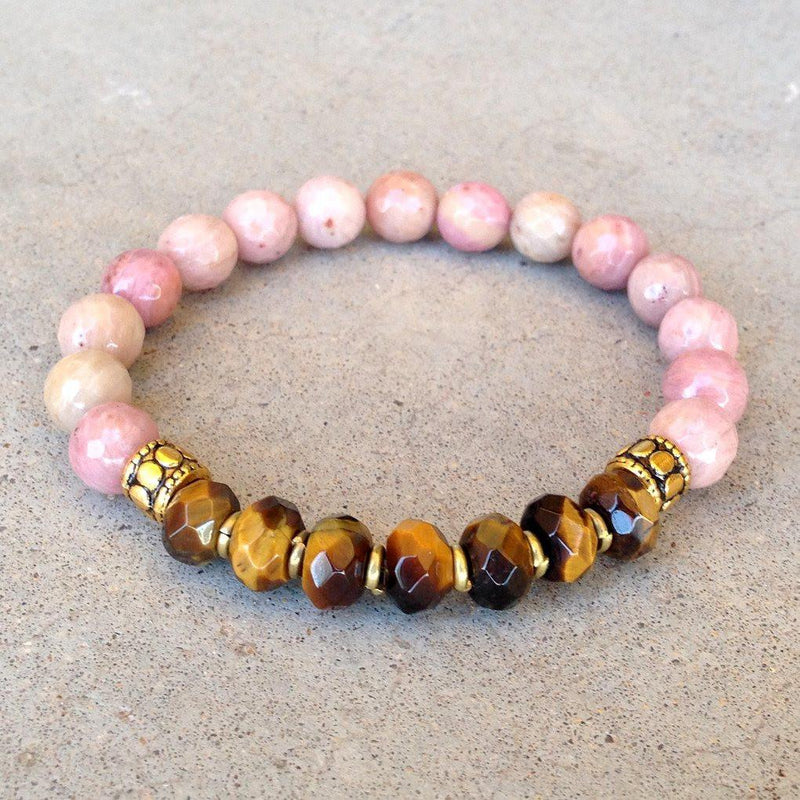 Bracelets - Prosperity And Love, Pink Rhodochrosite And Tiger´s Eye Gemstone Bracelet