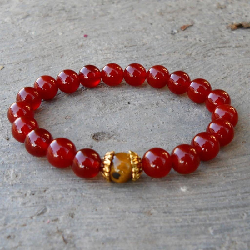Bracelets - Prosperity And Stability - Carnelian And Tiger's Eye Genuine Gemstone Yoga Mala Bracelet