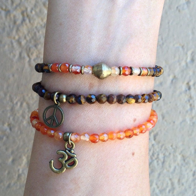 Bracelets - Prosperity And Stability, Genuine Fine Faceted Carnelian And Tiger's Eye Bracelet Set