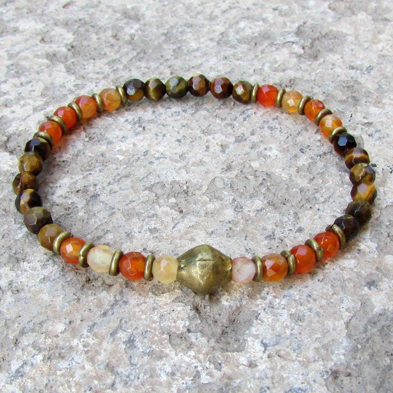Bracelets - Prosperity And Stability, Genuine Fine Faceted Tiger's Eye And Carnelian Bracelet