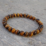 Bracelets - Prosperity, Genuine Tiger's Eye Gemstone Mala Bracelet