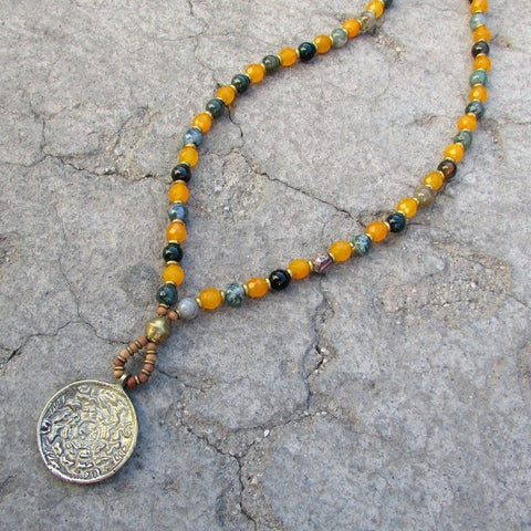 Protection and Joy, fancy jasper and yellow jade 108 bead mala necklace with Tibetan pendant