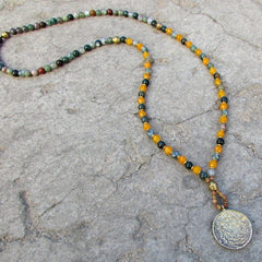 Bracelets - Protection And Joy, Fancy Jasper And Yellow Jade 108 Bead Mala Necklace With Tibetan Pendant