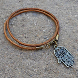 Bracelets - Protection - Greek Leather Wrap Bracelet Hamsa Hand