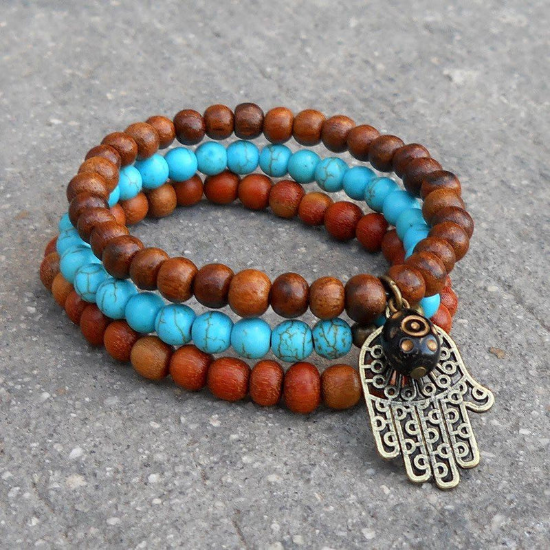 Bracelets - Protection, Set Of Mala Bracelets With Hamsa Charm And Evil Eye