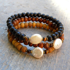 Bracelets - Pure, Genuine Sandalwood, Ebony, And Freshwater Pearl Guru Bead Mala Bracelet Set
