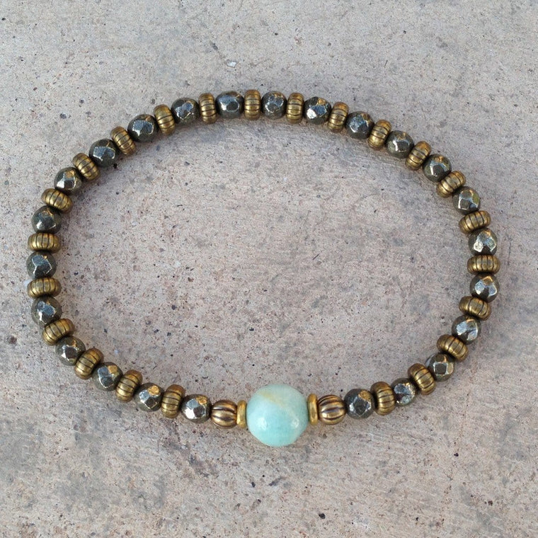 "Bracelets - Pyrite and Amazonite Fine Faceted ""confidence and Positivity"" Bracelet"