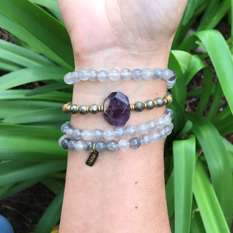 Bracelets - Quartz Crystal And Amethyst Mala Bracelet
