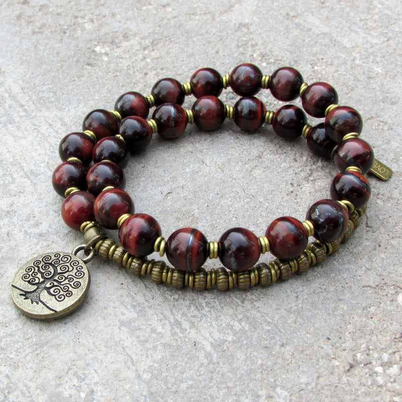 Bracelets - Red Tiger's Eye Gemstone 27 Bead Mala Bracelet With Tree Of Life Charm