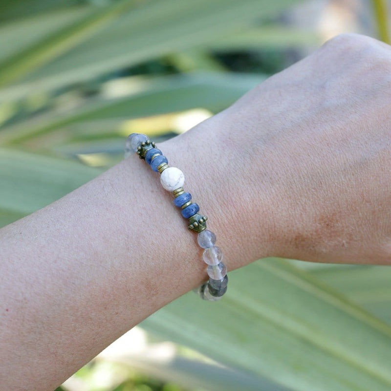 Bracelets - 'Renewal' Cloudy Quartz, Kyanite, And Howlite Bracelet