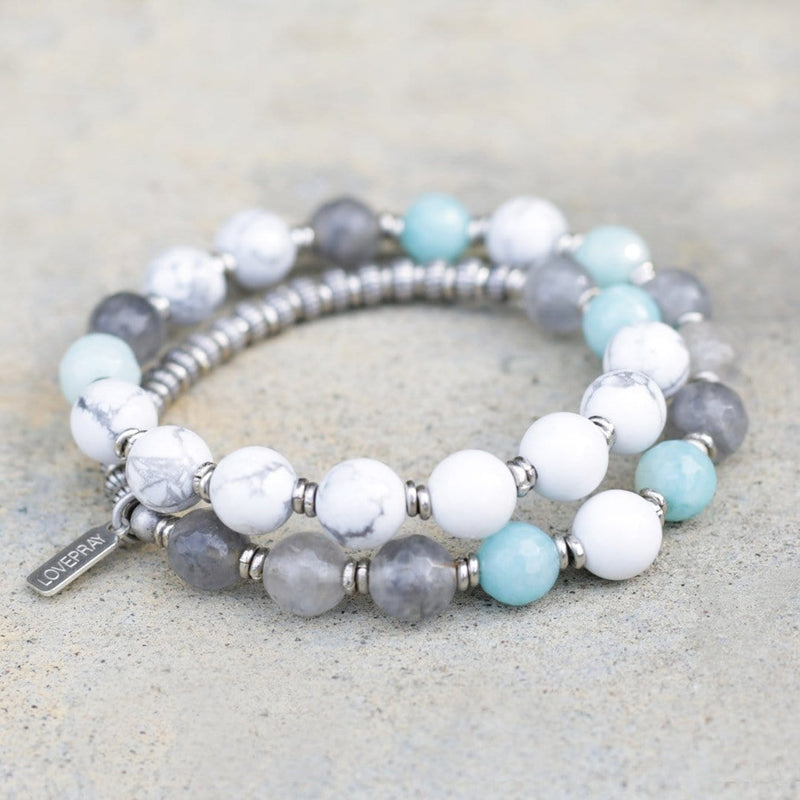 Bracelets - Renewal, Howlite And Amazonite 27 Bead Wrap Mala Bracelet
