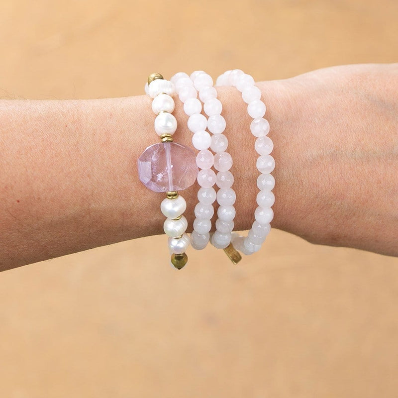 Bracelets - Rose Quartz And Pearls Mala Bracelet