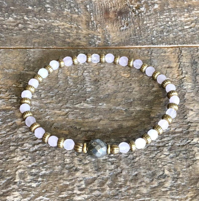 "Bracelets - Rose Quartz And Pyrite Fine Faceted ""Healing And Confidence"" Bracelet"