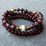 Bracelets - Rosewood And Red Tiger's Eye 108 Bead Convertible Mala Necklace With Tibetan Capped Pearl