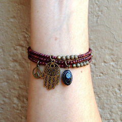 Bracelets - Rosewood Mala Bracelets With Hamsa Hand And Hand Painted Evil Eye Charm