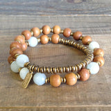 "Bracelets - Sandalwood And Amazonite ""Fifth Chakra"" 27 Beads Wrap Mala Bracelet"