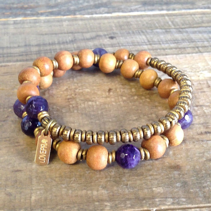 "Bracelets - Sandalwood And Amethyst ""Seventh Chakra"" 27 Beads Wrap Mala Bracelet"