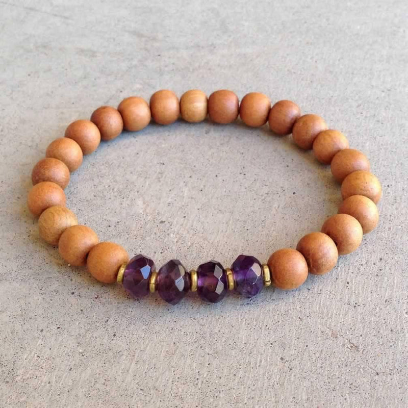 "Bracelets - Sandalwood And Amethyst ""Seventh Chakra"" Bracelet"