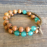 "Bracelets - Sandalwood And Aventurine ""Fourth Chakra"" 27 Beads Wrap Mala Bracelet"