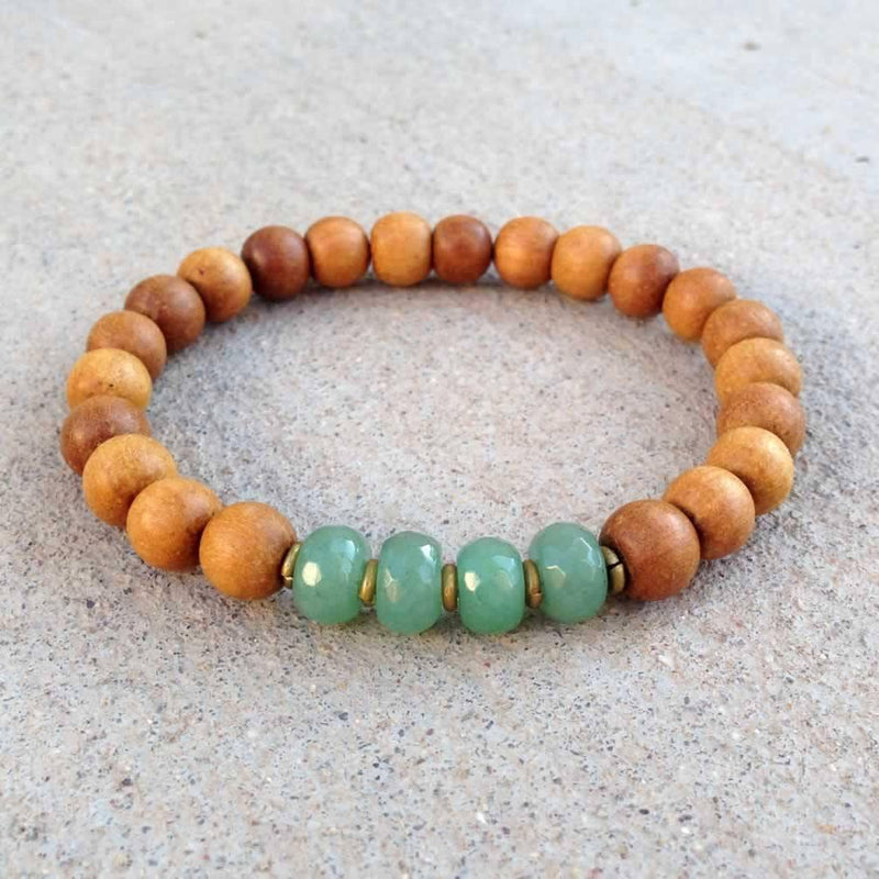 "Bracelets - Sandalwood And Aventurine ""Fourth Chakra"" Bracelet"
