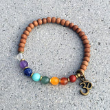 Bracelets - Sandalwood And Chakra Gemstones Bracelet