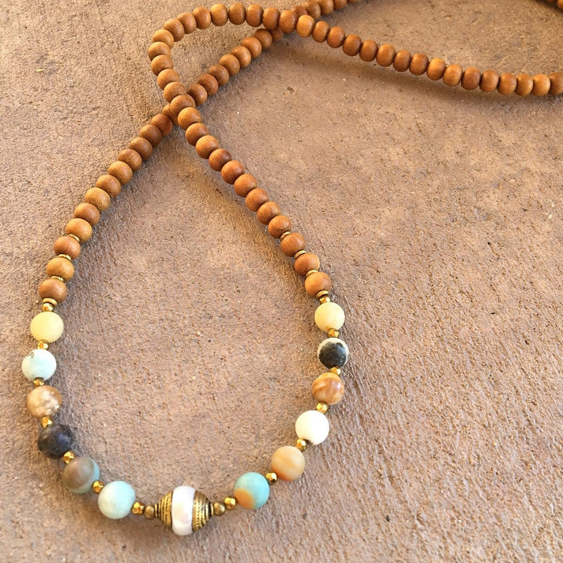 "Bracelets - Sandalwood And Matte Amazonite ""Healing And Communication"" 108 Bead Mala With A Tibetan Pearl Guru Bead"