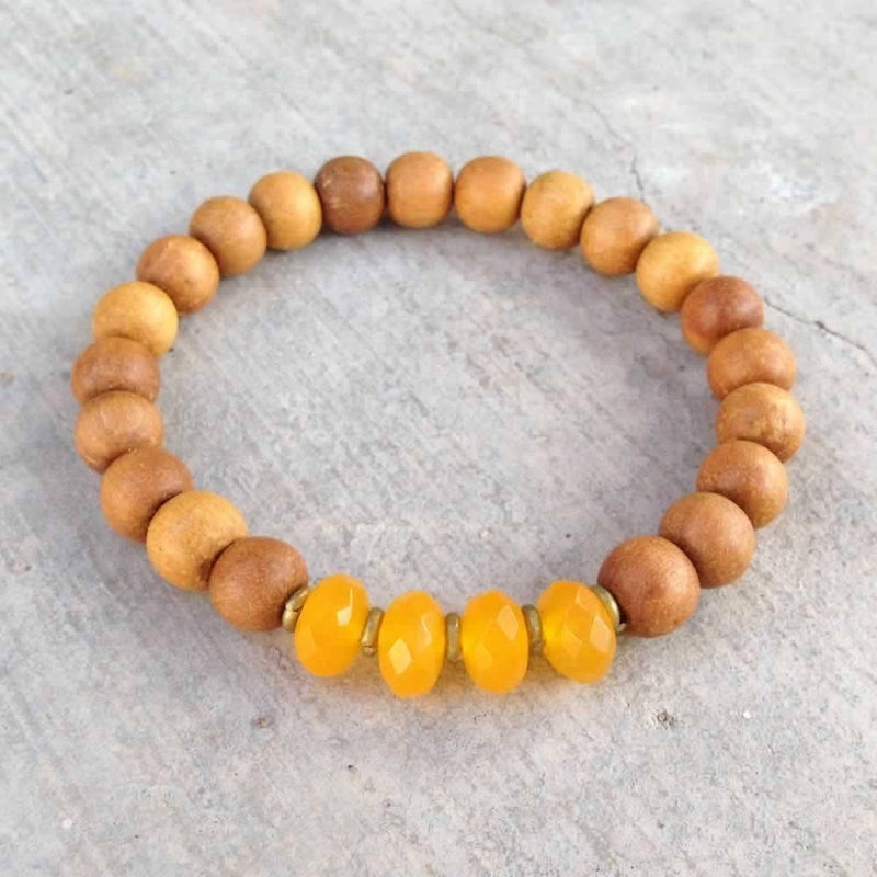 "Bracelets - Sandalwood And Yellow Jade ""Third Chakra"" Bracelet"